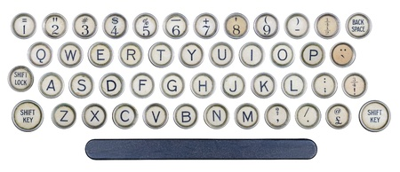 Old typewriter isolated keyboard buttons Stock Photo