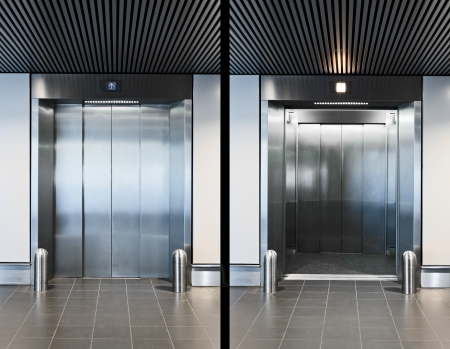 Elevator doors open and closed photo