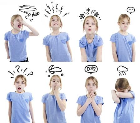cara triste: Emociones infantiles con ilustraciones de dibujos animados