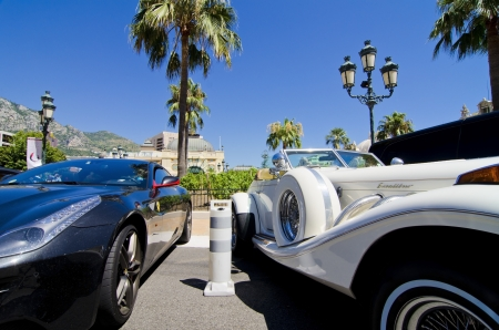 ferrari: Luxery sports car and limousine in monaco, concept of wealth