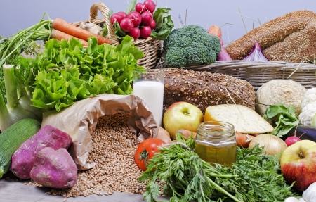 compilation des aliments biologiques Banque d'images