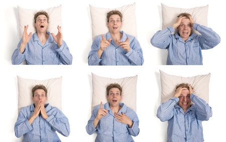 restless: Set of man in pajamas on his pillow showing different expressions Stock Photo