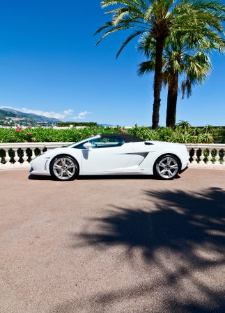 Luxury sports car in monaco, concept of wealth or elite