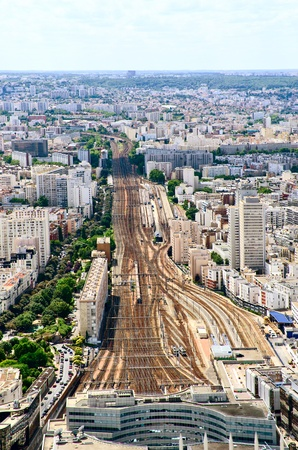 Paris train station areal or top view photo