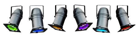 Isolierten farbigen theatralischen Lichter oder Bühnenscheinwerfer Standard-Bild - 22954200