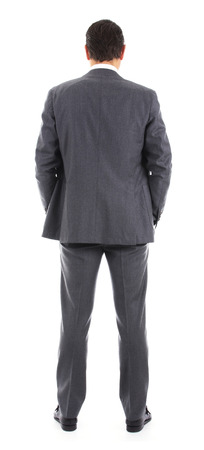 Businessman standing with back to the camera Banque d'images