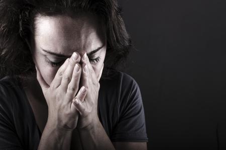 ansiedad: Mujer deprimida primer plano Foto de archivo