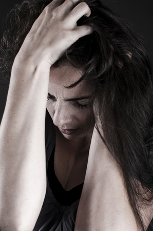depressed woman close-up Stock Photo