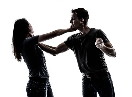 girl fighting: Domestic violence Stock Photo