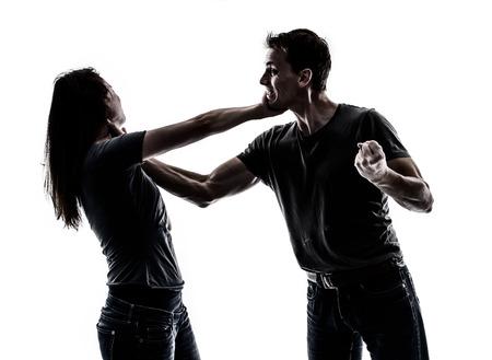women fight: Domestic violence Stock Photo