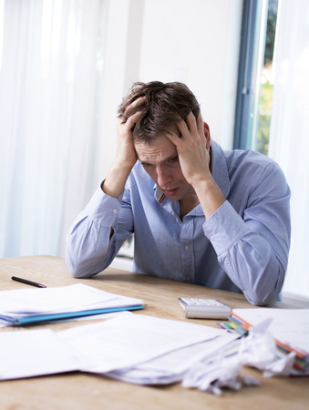 Man with financial problems