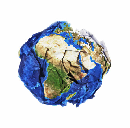 Crumbled ball paper world, concept of wasting our planet