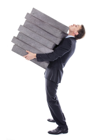 burden: Businessman carrying high burden