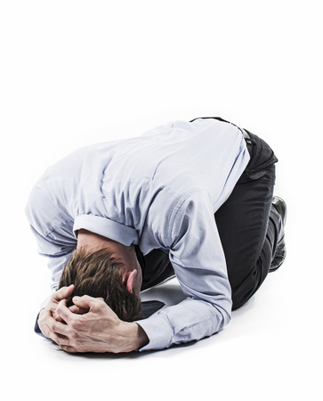 Man on the floor  Desperate position  Bankruptcy