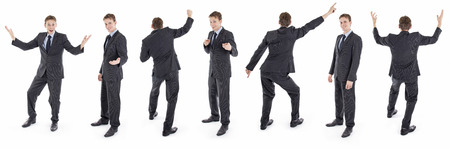 Set of isolated happy businessman in suit Stock Photo - 24387745