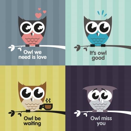 animal sad face: Owl emotions Illustration