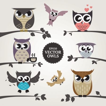 owl on branch: Set of vector owl emotions
