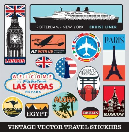 여행: 벡터 가방 여행 스티커 일러스트