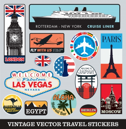 landmarks: Vector suitcase traveling stickers