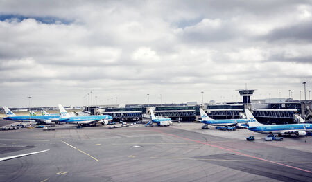 Airport airplanes boarding or docking