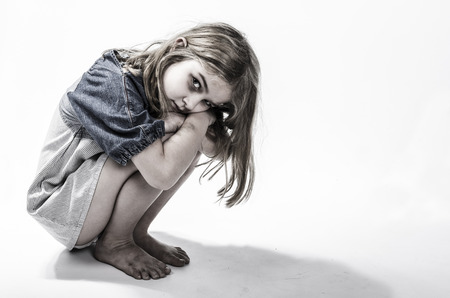 dirty blond: Homeless or neglected child Stock Photo