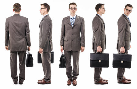 Businessman with suitcase from all sides