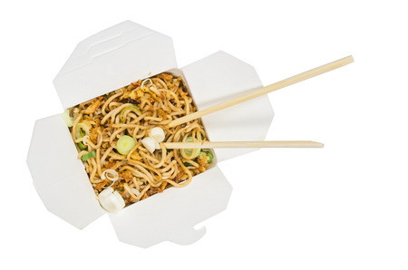 container with fast food noodles top view photo