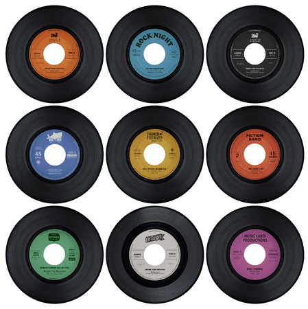 Set of vinyl records with fake labels 1 or 2
