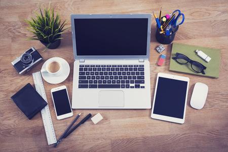 Top view office desk hero header image
