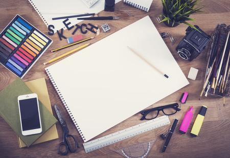 sketchbook: Blank sketchbook mockup hero header