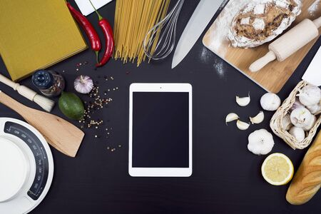 pcs: Kitchen cooking tablet PCs mockup Stock Photo