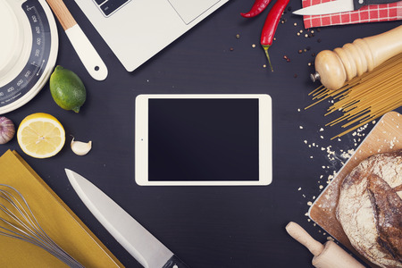 a kitchen: Kitchen or restaurant mockup tablet pc Stock Photo