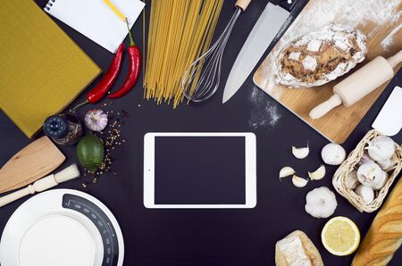 mockup: Kitchen or restaurant mockup tablet pc Stock Photo