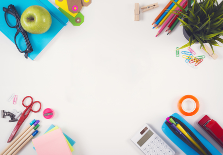 background stationary: Back to school hero header Stock Photo
