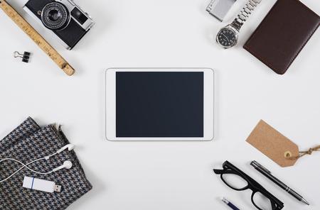 articulos oficina: cabecera héroe Tablet PC maqueta
