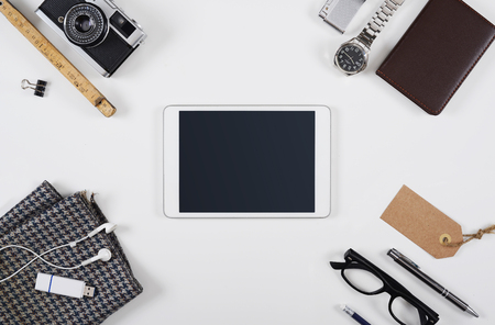 Office items: Hero header tablet pc mockup