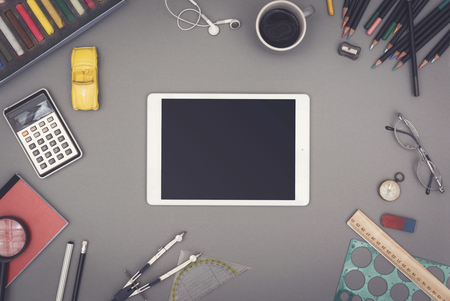 header: Creative top view tablet pc.