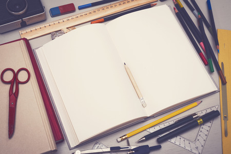 sketchbook: Creative retro style sketchbook mockup Stock Photo