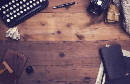typewriter: Retro writers desk hero header