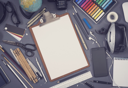 sketch drawing: Top view creative sketch book or paper mockup