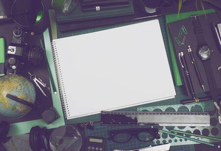 sketchbook: Mockup image with blank sketchbook Stock Photo