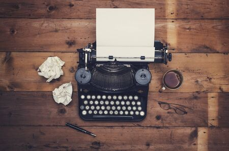 Top view retro thirties writers desk with typewriter
