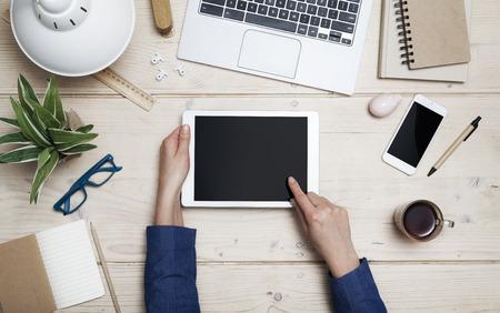 beeld Tablet home office held header Stockfoto