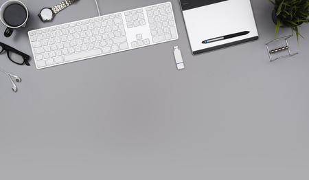 Top view desk hero header 版權商用圖片