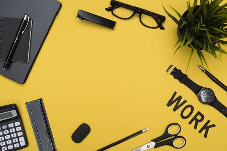 work  office: Work yellow  header office items Stock Photo