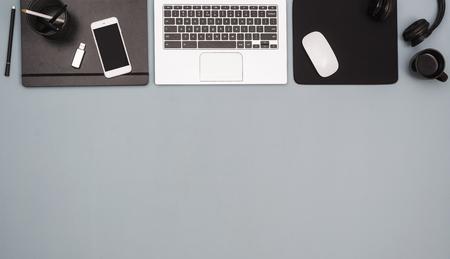 Top view laptop office desk hero header