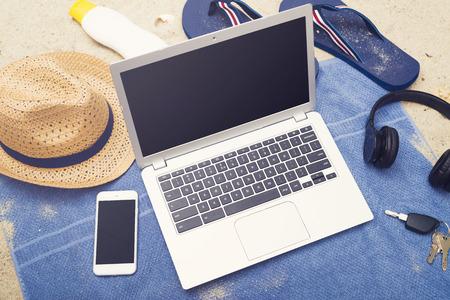 beach laptop responsive design mockup