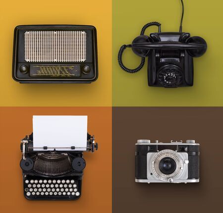 Vintage electronics set 版權商用圖片