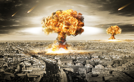 nuclear bomb: nuclear war illustration with multiple explosions Stock Photo