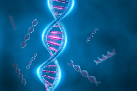 double helix: DNA strands on blue background